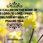 O Lord I pray deliver my soul Psalms 116.4